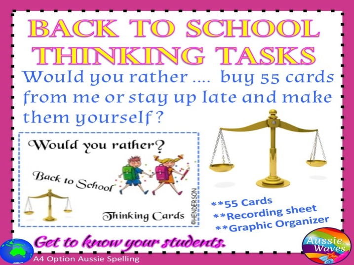 Back to School Would You Rather? Critical Thinking Decision-Making Cards