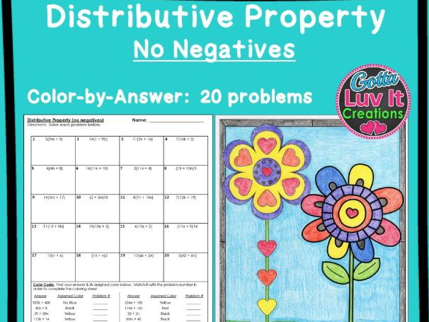 Distributive Property No Negatives - Color by Number