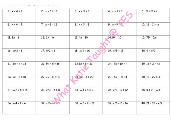 One and Two Step Equations Grid