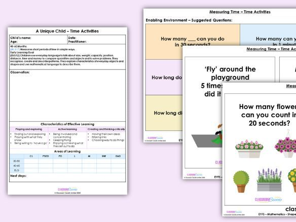 EYFS Maths Time Activities Learning Activity