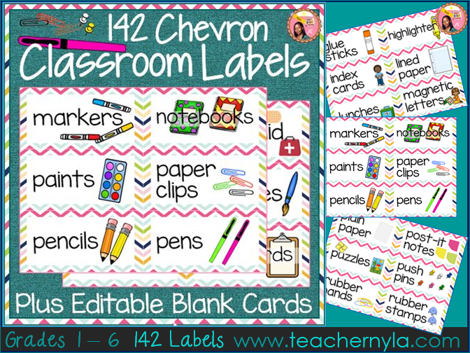 Classroom Labels with Chevron Borders