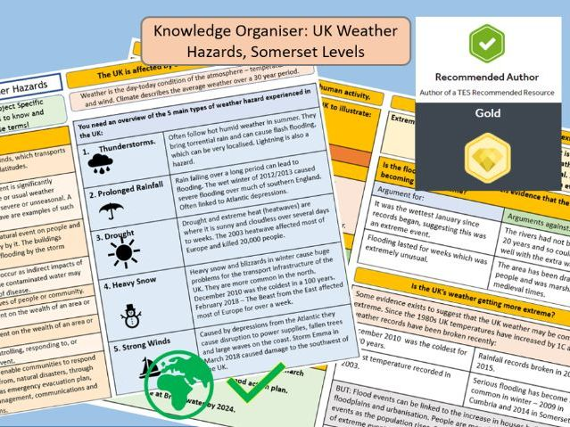 GCSE AQA 9-1: UK Weather Hazards, Knowledge Organiser and Revision Summary.