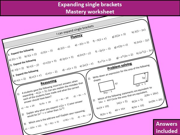 Expanding single brackets - mastery worksheet