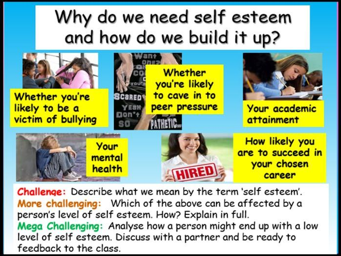 Self Esteem Mental Health PSHE 2020