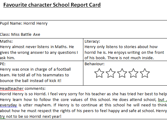 World Book Day Character report Card