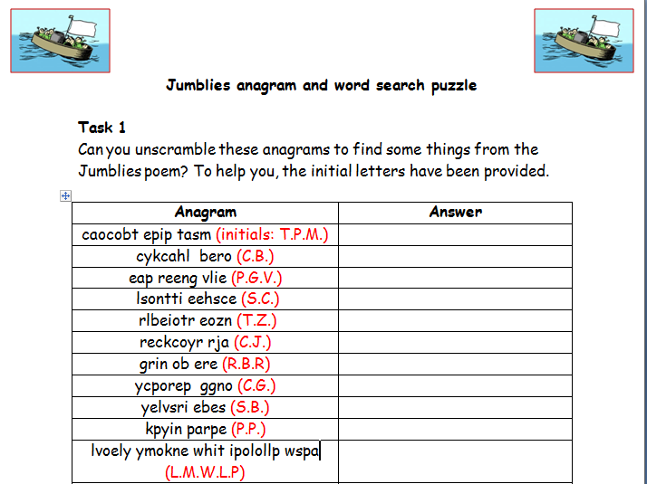The Jumblies anagram and wordsearch puzzle