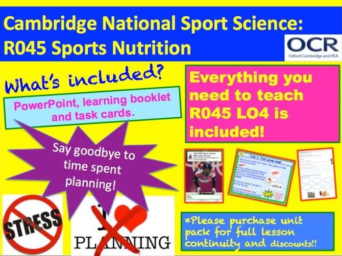 Cambridge National Sports Science R045: Sports Nutrition Learning Objective 4