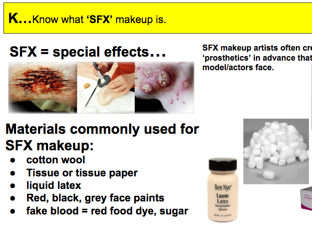 SFX (special effects makeup) research, questions and resources