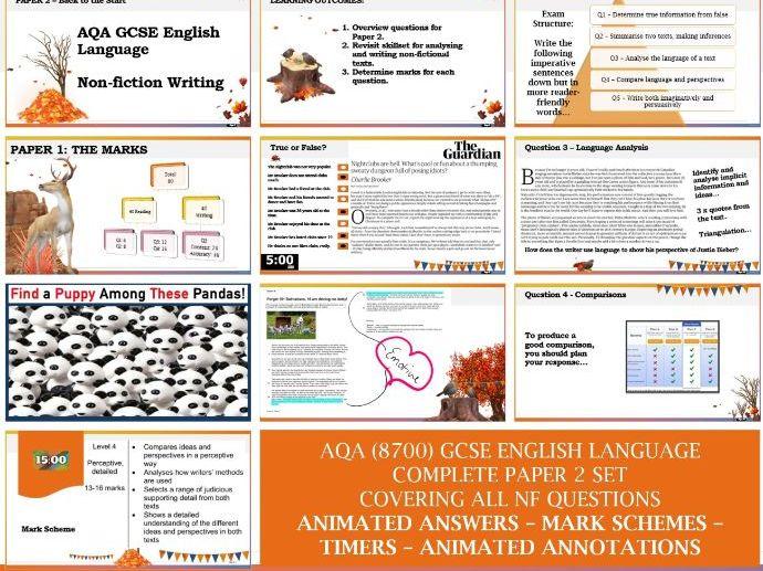 AQA 8700/2 GCSE English Language - Paper 2 FULL SET