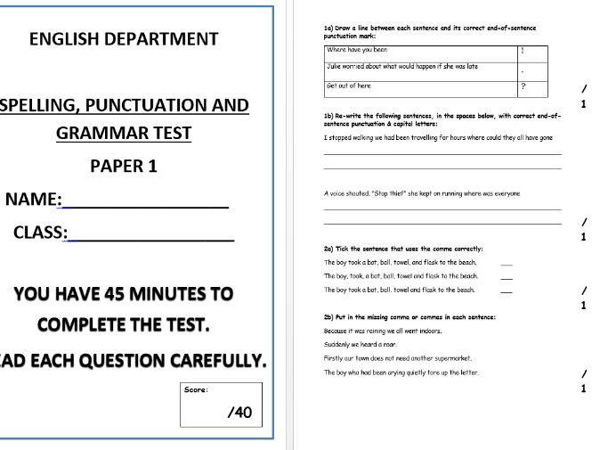Spelling, punctuation and grammar test - Paper 1
