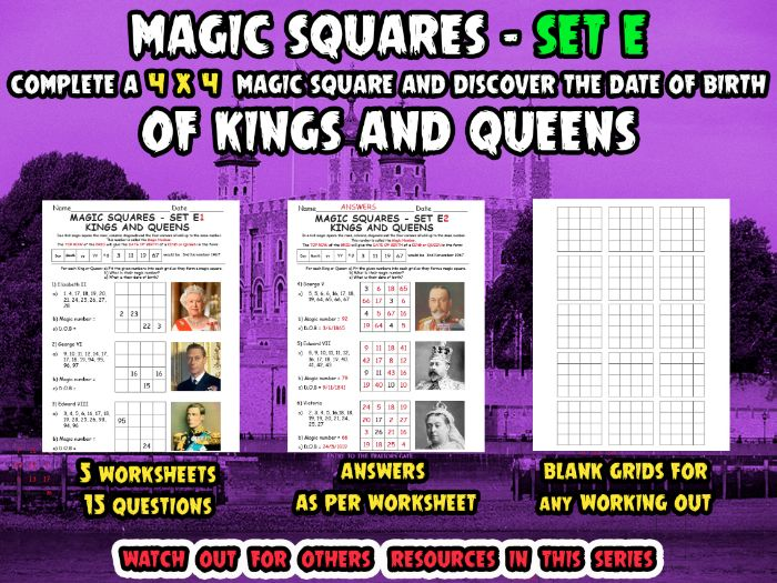 MAGIC SQUARES - SET E - KINGS and QUEENS-(Complete 4X4 magic square