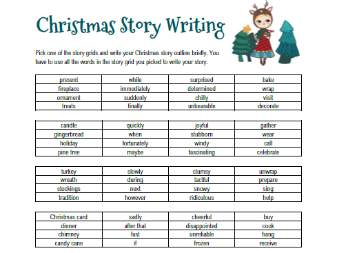 Christmas Story Writing with Story Grids + Peer Feedback Sheet