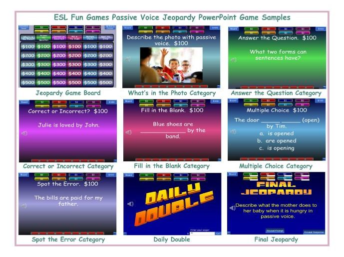 Passive Voice Jeopardy PowerPoint Game