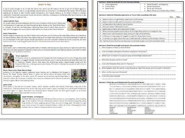 Easter in Italy - Reading Comprehension Worksheet / Text