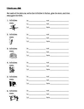 IRE verbs in Italian worksheet