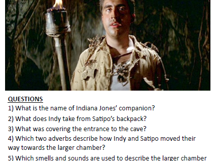 Indiana Jones reading comprehension & verbs / adverbs task