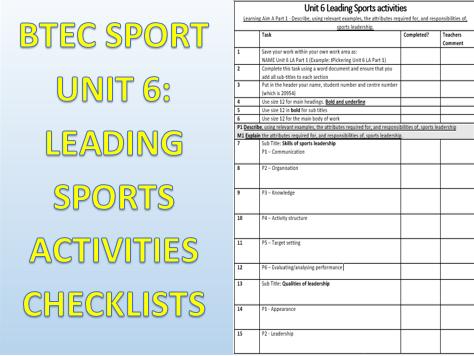 Leading Sports Activities checklists: BTEC Level 2 Sport Unit 6 (2018)