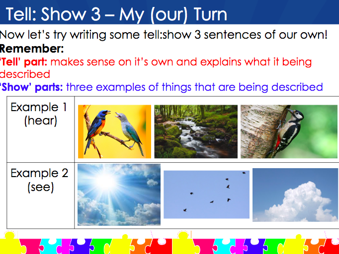 The 'Tell: Show 3' Sentence Type (Alan Peat Sentence Types) Y4/5