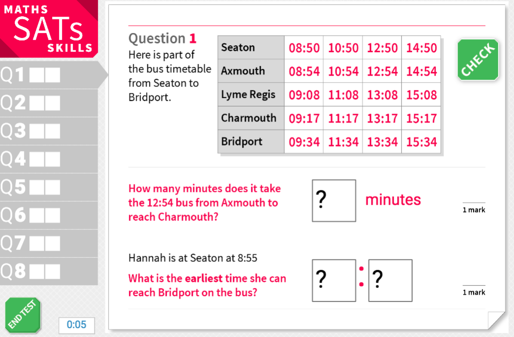 Read and interpret timetables - KS2 Maths Sats Reasoning - Interactive Exercises