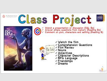 The BFG (Dinsey movie 2016) Class Project for Lower Abillity/SEN