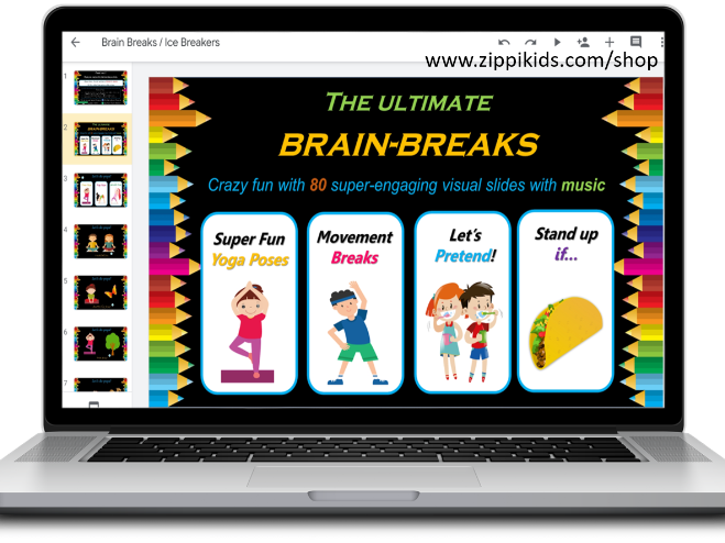 Brain Breaks / Ice Breakers – 80 Google Slides with music