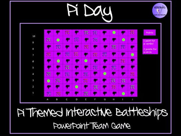 Pi Themed Interactive Battleships Coordinates PowerPoint Team Game - Ideal for Pi Day (14th March)