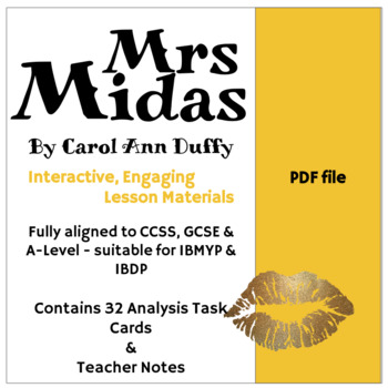 Mrs Midas Analysis Task Cards