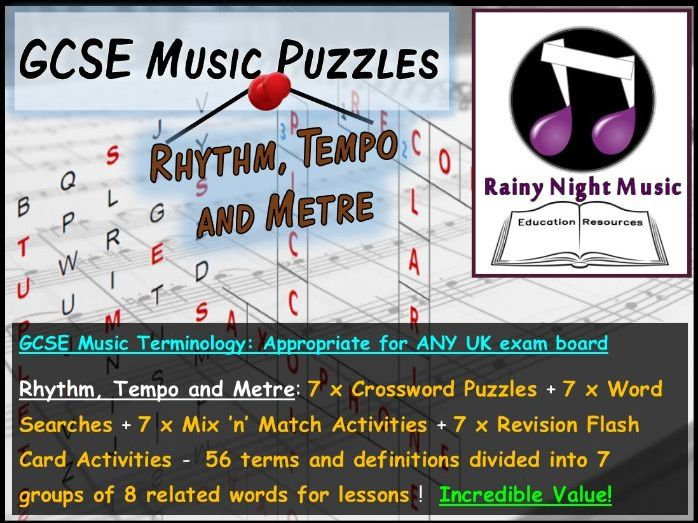 GCSE MUSIC TERMINOLOGY PUZZLES – RHYTHM, TEMPO AND METRE – SUITED TO ALL UK GCSE MUSIC SPECS