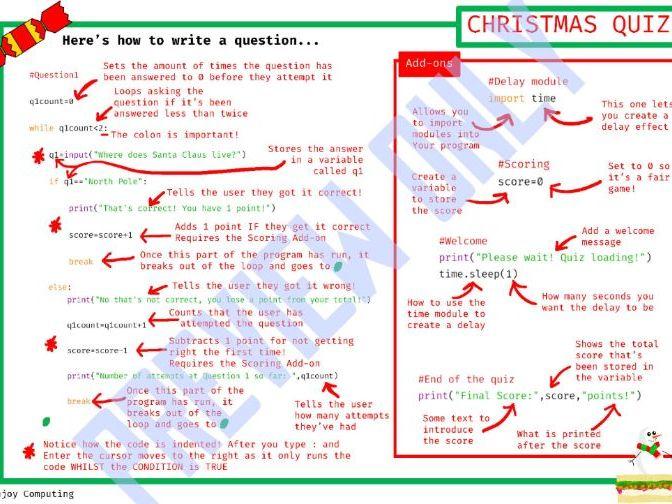 Python Christmas Quiz (WHILE loops and Selection)