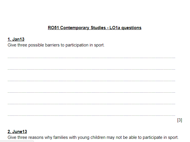 LO1 exam questions and mark schemes - OCR Sports Studies RO51