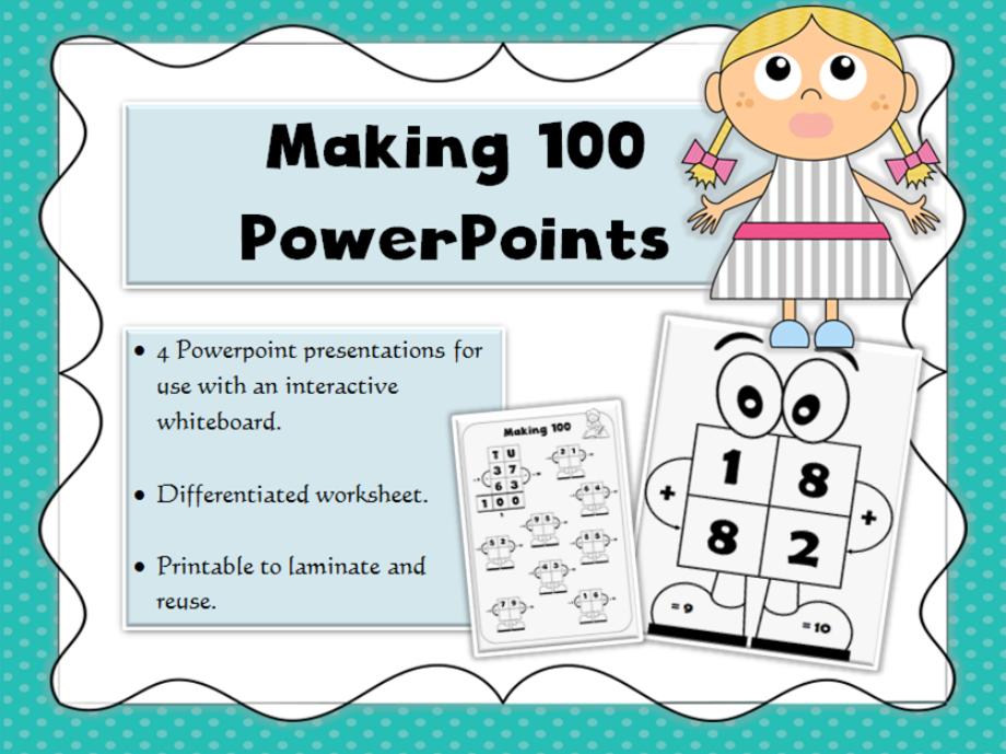 Whiteboard practice PowerPoints, 100 number bonds, Mr 100