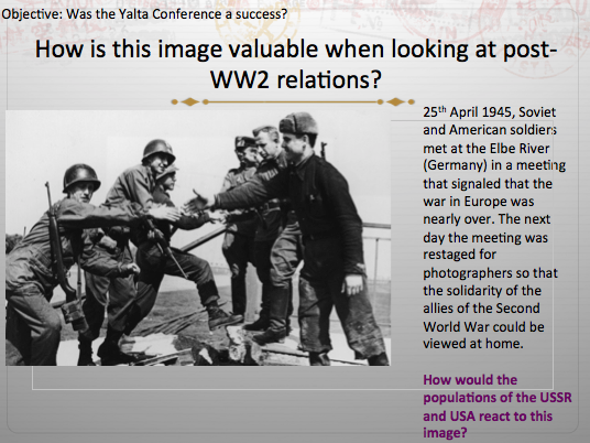The Cold War 2R AQA - Lesson 1. Post WW2 relations +Capitalism VS Communism WHOLE LESSON + Resources