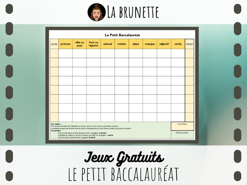 JEU - Le Petit Bac