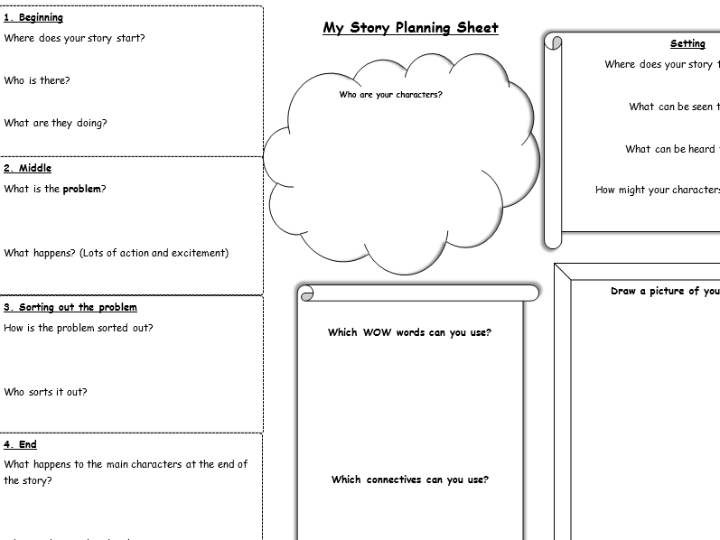 Story planning sheet