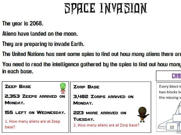 Alien Word problems Addition/subtraction KS2