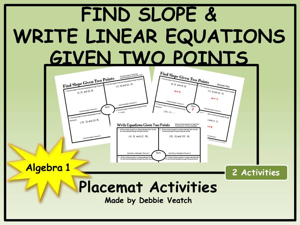 Find Slope AND Write Linear Equations Given Two Points Placemat Activities
