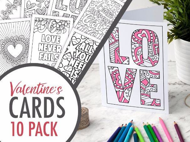 Valentine's Day Coloring Cards | Set of 10 PDF Printable Greeting Cards to color and make