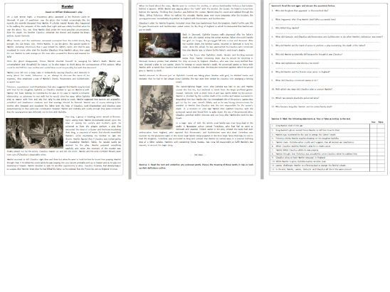 Hamlet - The Story - Reading Comprehension Worksheet