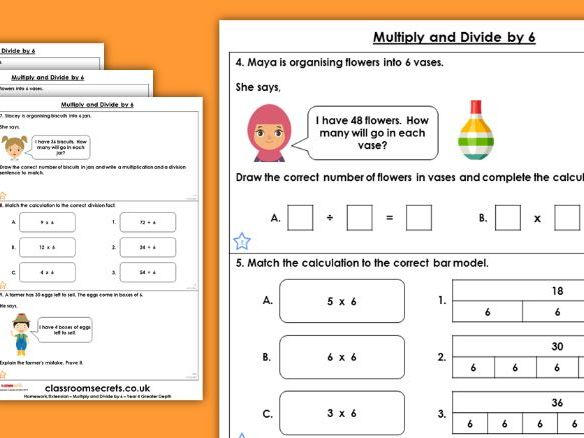 Year 4 9 Multiply and Divide by 6 Autumn Block 4 Maths Homework Extension