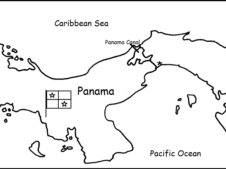 PANAMA - Printable handouts with map and flag