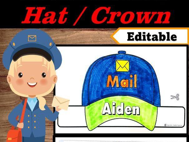 Mailman Hat Editable Name | Community Helpers Hats -Community HelperWeek Craft