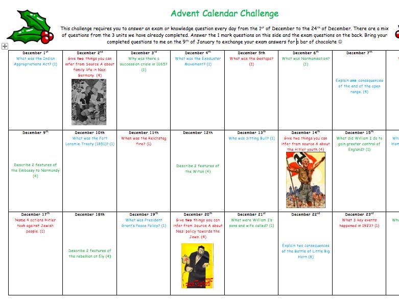 GCSE History Advent Calendar