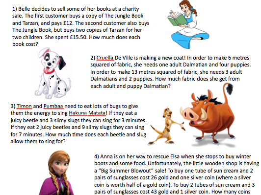 Disney Simultaneous Equations! (fun, challenging worded questions)