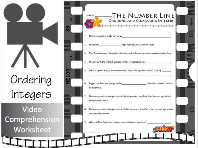 The Number Line (Part 2):  Ordering and Comparing Integers (Video Companion Worksheet)