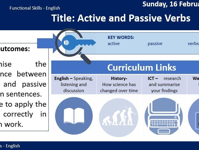 Functional Skills English - Passive and Active Verbs