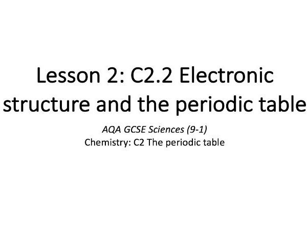C2.2 Electronic structure and the periodic table
