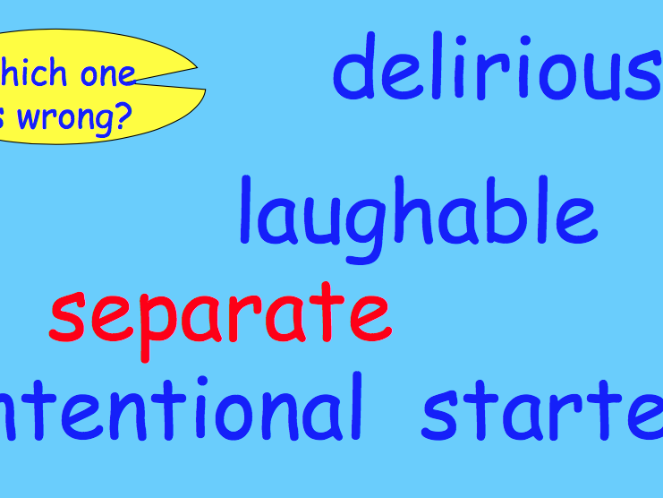 Spelling - Tricky stuff: commonly mis-spelt words.  Quick lesson starter.
