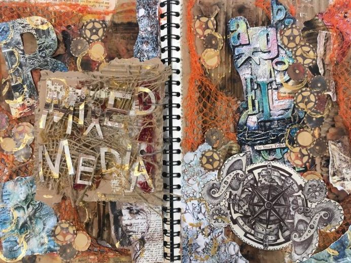 Mixed media/steampunk project - research page KS4