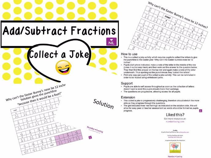 Addition & Subtraction of Fractions Easter Special (Collect a Joke)