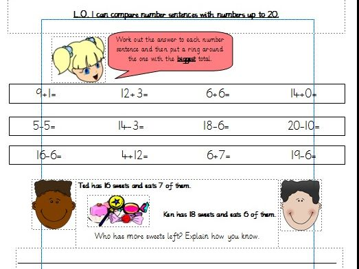 Comparing number sentences up to 20. Differentiated Worksheets Year 1 (White Rose)